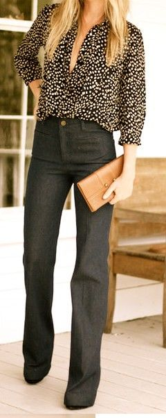 .Fashion, Polka Dots, Casual Friday, High Waist, Style, Jeans, Work Outfit, Business Casual, Work Attire