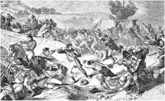 Déroute des Espagnols devant la cavalerie française au pont de Cabezón- 12 juin 1808