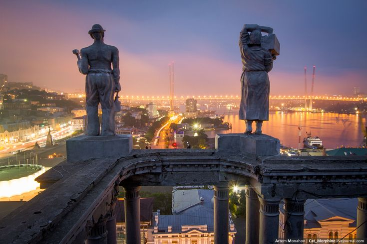 Vladivostok is a major Pacific port city in Russia overlooking Golden Horn Bay, near the borders with China and North Korea. It's known as a terminus of the Trans-Siberian Railway, which links the city to Moscow in a 7-day journey.