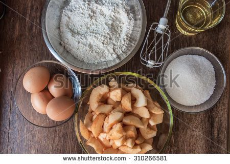 Prepared in the vessels of the ingredients for a cake with apples.