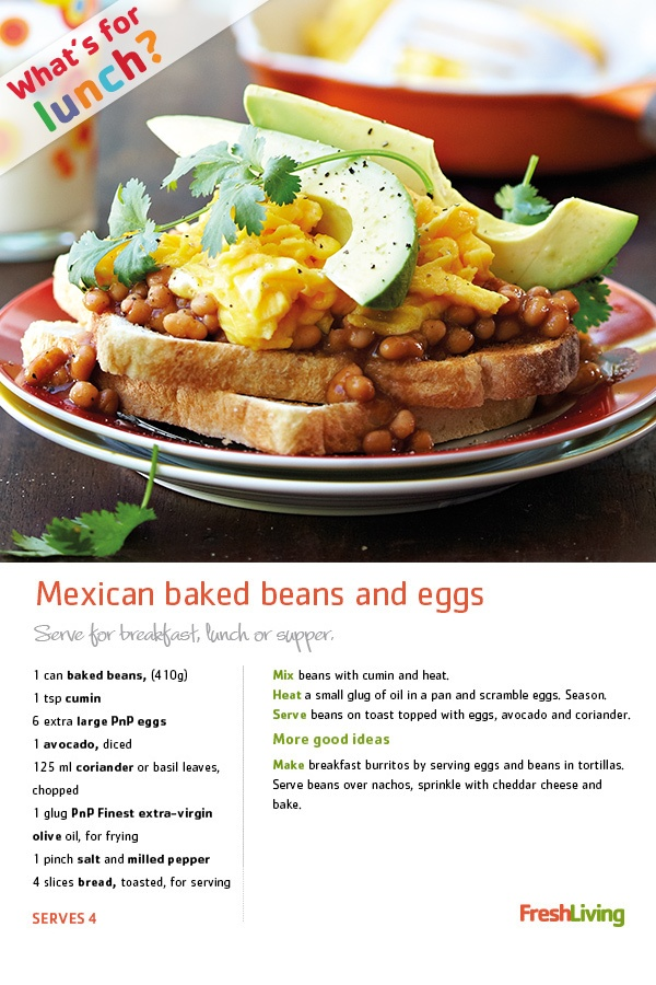 #Breakfast, #lunch or dinner? Pick a time & dig into this fancy stack of #Mexican baked #beans and #avo. Nom nom nom #picknpay #recipe #dailydish