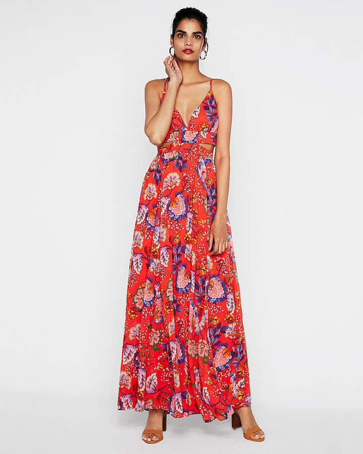 cfd5d684b174 Express Floral Side Cut-Out Maxi Dress | Shop the look products ...