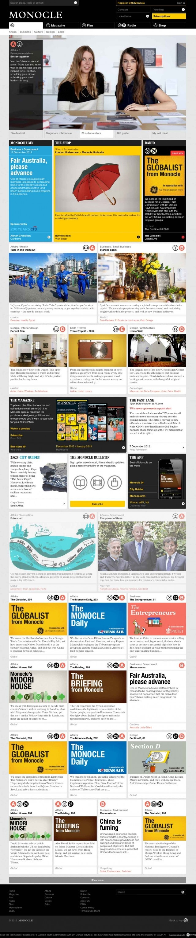 Love the Monocle Website, big inspiration. Think that the header area is a little crowded but definitely a favourite.