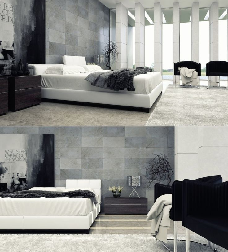 InteriorBlack And White Contemporary Interior Design Concept For Small House Modern Master Bedroom Lighting