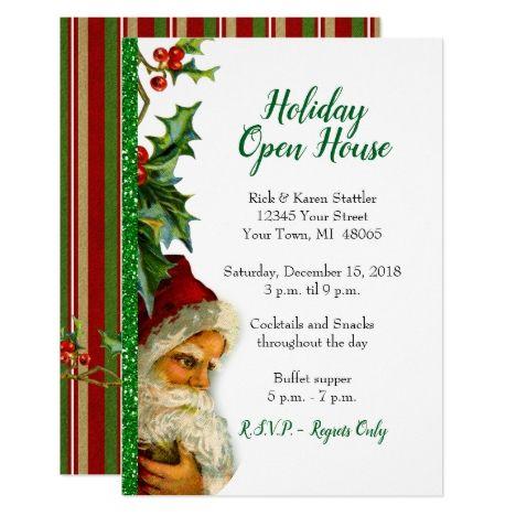 Holiday Open House Green Glitter Santa Holly Invitation in 2018