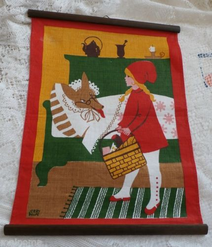 Swedish Jerry Roupe Red Riding Hood Wolf Linen Wall Hanging Sweden Fairy Tale