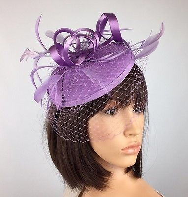 Purple Fascinator Lilac Hat Satin Loop Veil Netting Weddings Bride Races Ascot  | eBay