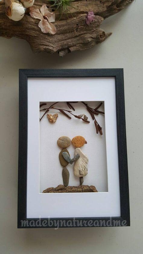 Unique engagement pebble art gift , unique wedding gift, personalized loving couple art, unique rock couple art by madebynatureandme on Etsy