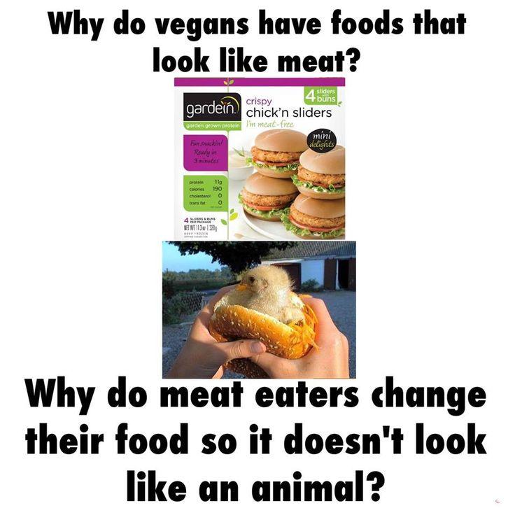 Why do vegans have food that looks like meat? Why do meat eaters change their food so it doesn't look like an animal?! / vegan meme / vegan humor / vegan lifestyle / veganism