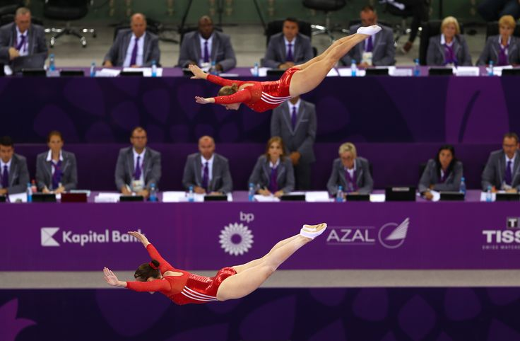 Synchronised trampoline with kat Driscoll and Laura Gallagher at the first European Games in Baku 2015.