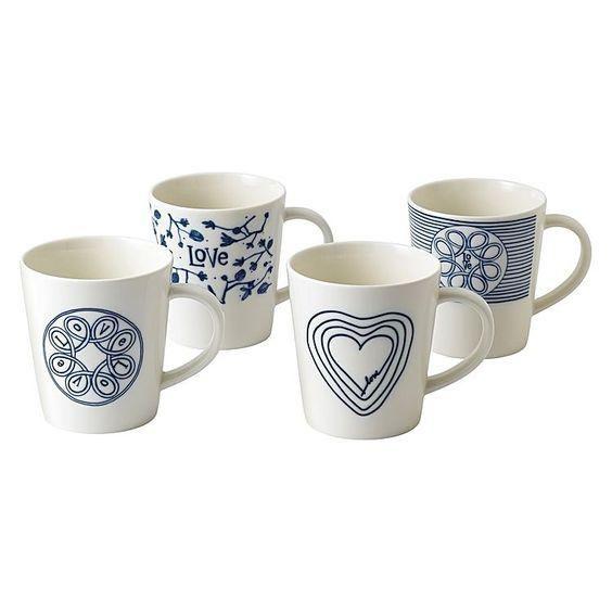 ED Ellen DeGeneres Crafted by Royal Doulton - Mug 450ml Blue Love Set of 4