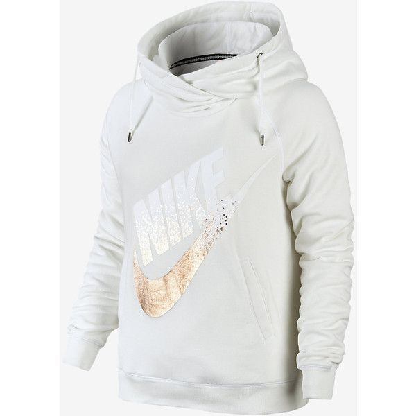 Nike Rally Metallic Funnel Neck Pullover Women's Hoodie. Nike.com (€60) ❤ liked on Polyvore featuring tops, hoodies, metallic top, pullover hoodies, hoodie pullover, nike tops and nike pullover