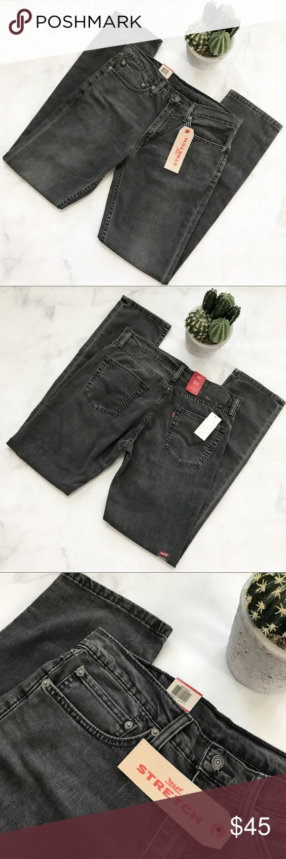 Men's 💪 Levi's 511 Slim 34x43 Faded Black Jeans Brand new with tags!   PRODUCT DETAILS: •Size: 34 x 34 •Colors: Faded Black / Gray •Made in Egypt  •Measurements: Length 44inch, Rise 11inch •511 Slim Fit  •Sits Below Waist •Slim From Hip To Ankle  •Stretch Denim Construction, engineered for comfort •MSRP: $69.50!  •Machine Wash  • 93% cotton, 5% Elastomultiester, 2% Elastane   Tags: Denim Guys Boys Levi Levis Levi's Jeans Slim