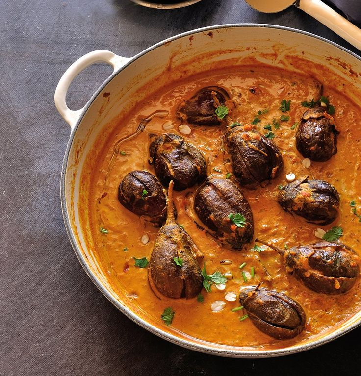 Badane Kaayi Gojju is a traditional south Indian brinjal curry. It is creamy spicy and tangy curry. If you are bored of the usual way of making baingan sabzi this is a delicious twist. Serve it with rice or roti or lachha paratha and lauki raita for a wholesome meal. Recipe by Madhuri. --> http://ift.tt/21eQQ0U #Vegetarian #Recipes