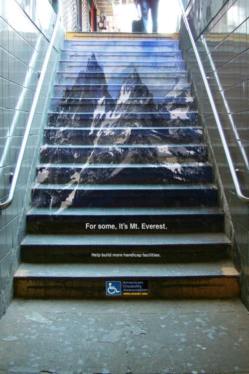 .Stairs, Disabilities Association, Art, Disabilities Awareness, Mounteverest, Funny Commercials, People, Mount Everest, Design