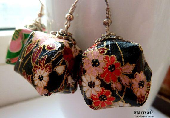 Origami Lantern Earrings Green and Black with flowers by MarysaArt
