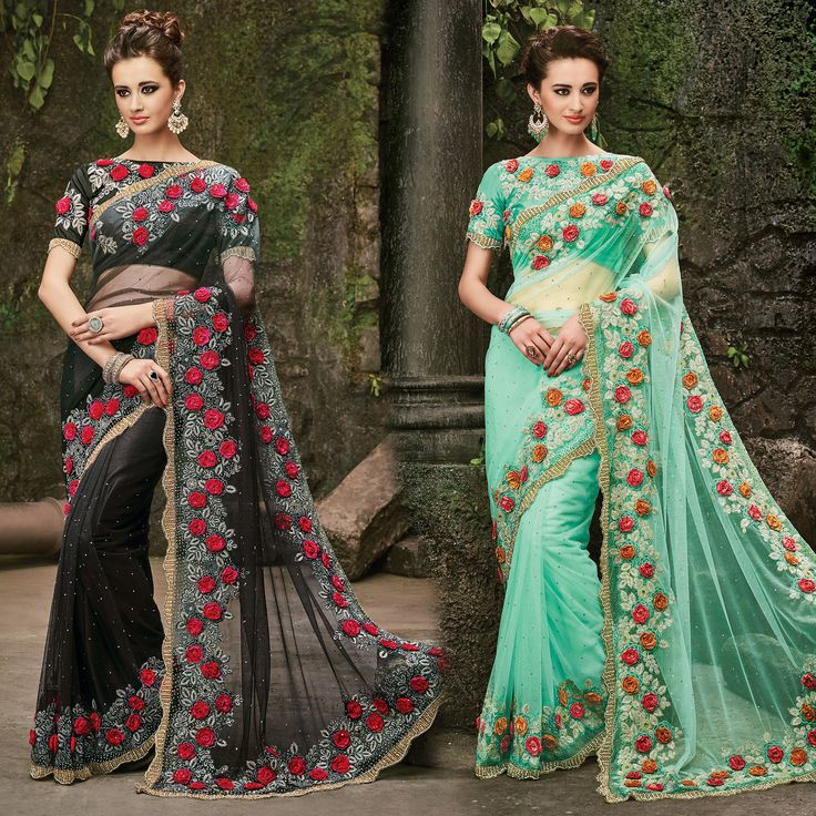 Make an enthralling appearance on any festive occasion or function by draping into this Black & Green Saree with Heavy Embroidery Saree. Buy Now :- https://goo.gl/J6mQDp Cash On Delivery & Free Shipping only in India.  For Other Query Just Whatsapp Us on +91-9512150402