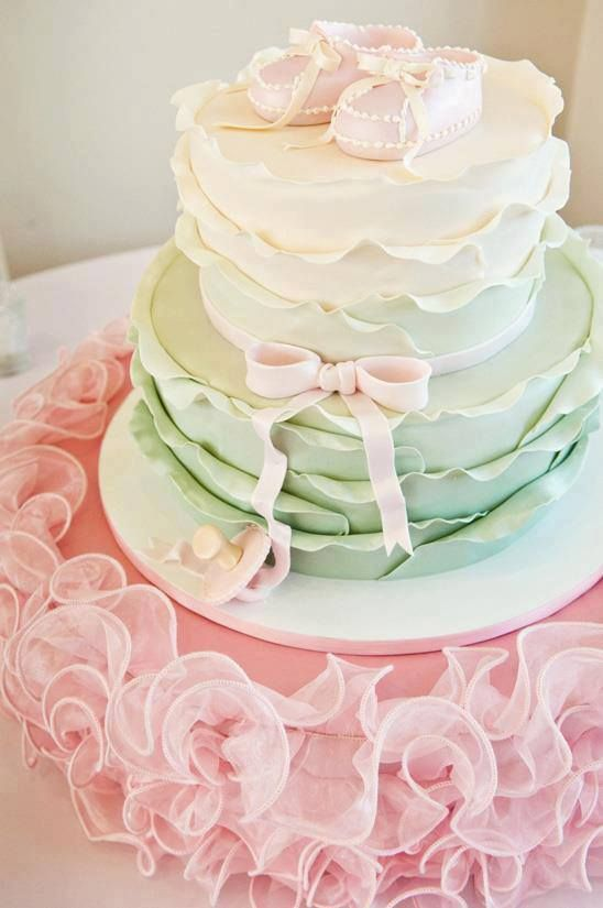 Pastel baby shower cake, so pretty but very girly. Maybe in neutral colors? Yellow and cream and burlap?