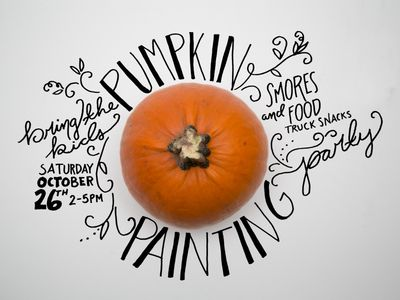 Fall Party Invite- love this! It reads: Pumpkin painting party - bring the kids - S'mores and food truck snacks - Saturday October 26th 2-5 PM - Graphics for The Little Fleet -