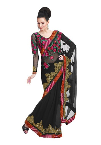 Designer Party Wear Black Colored Chiffon Saree With Unstitched Blouse Fabric: Chiffon 4659 INR