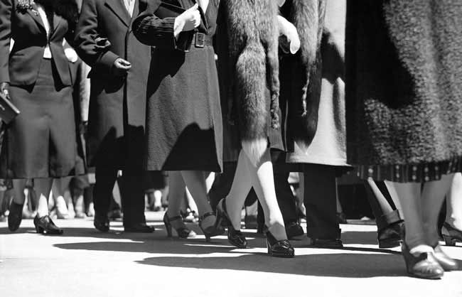 Shoes were practical, mid height and with a closed toe. Women usually only had one or two pairs to wear for every occasion including work. Health and Safety banned women from wearing open toed shoes in the factories.