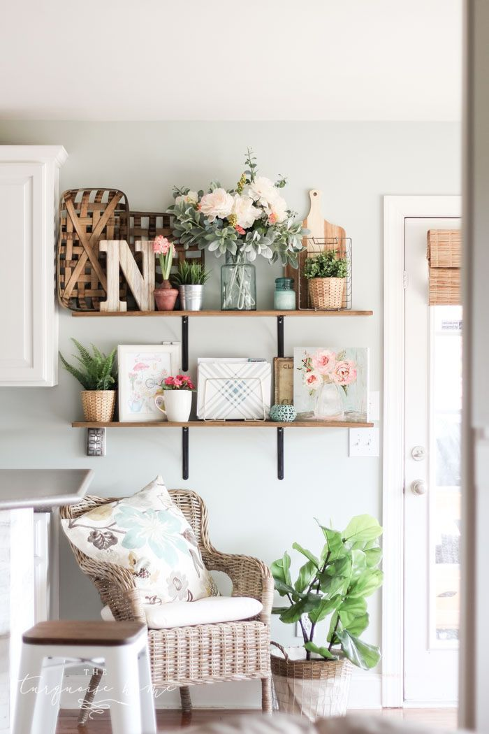 Farmhouse Spring Decorating Ideas Open Shelves In The Kitchen Or Living Room Spring Home Decor Easy Home Decor Farm House Living Room