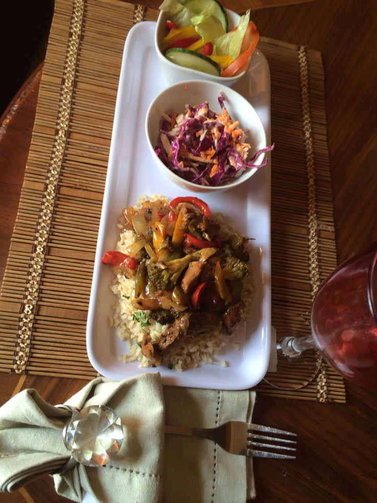Brown rice with chicken vege stir fry and green salad