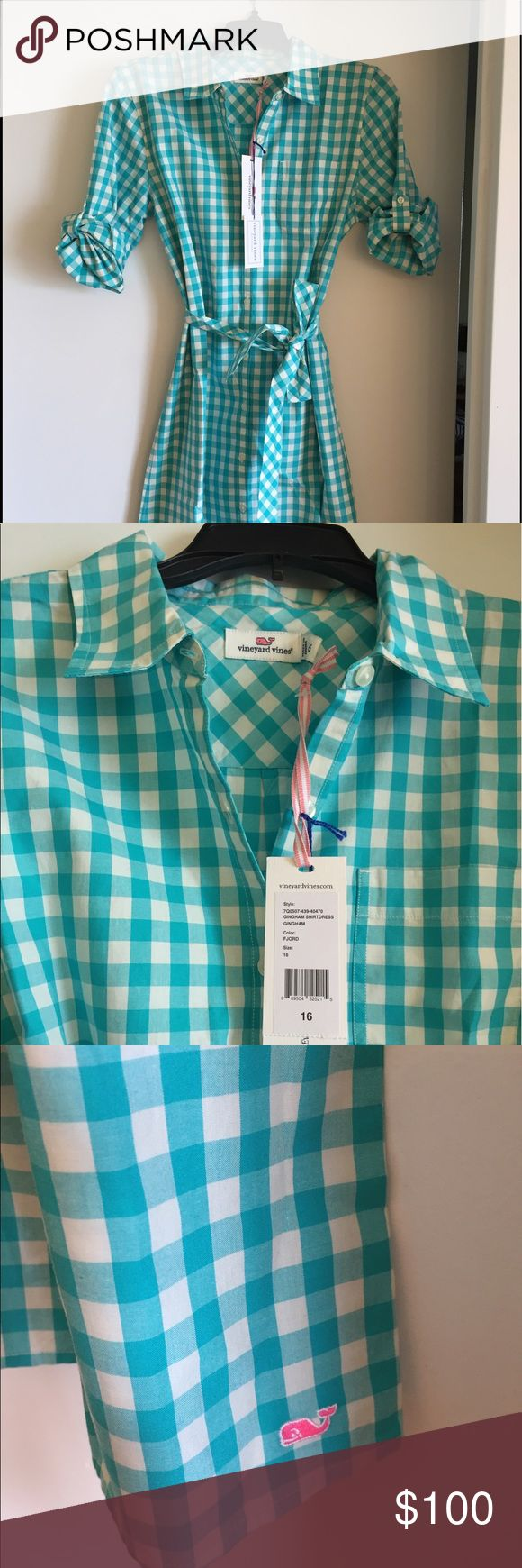 NWT Vineyard Vines Women's Shirtdress SZ 0/2 Brand new Vineyard Vines Gingham Shirtdress in Fjord color. Size 16 in girls But equivalent to women's 0/2. Button up front with removable waist tie. Vineyard Vines Embroidered Whale at hem of dress. 100% cotton. Comes from smoke free/pet free home. Vineyard Vines Dresses