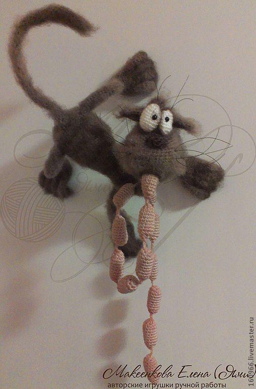 """Купить МК по вязанию Кот-магнит на холодильник """"Ливер-пуль"""" - серый, кот, магнит на холодильник"""