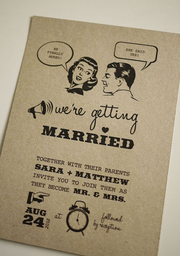 We have been spotted in France!http://www.unmariageaportobello.com/2011/10/06/des-faire-parts-qui-ne-passent-pas-inapercus-episode-1/This fun and quirky 50's wedding invitation would suit any bride an..