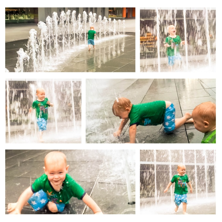 Leo enjoys a water fountain in Singapore