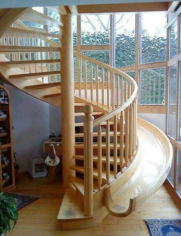 that enjoyment IN the house with a perf staircase-slash-slide.. :)