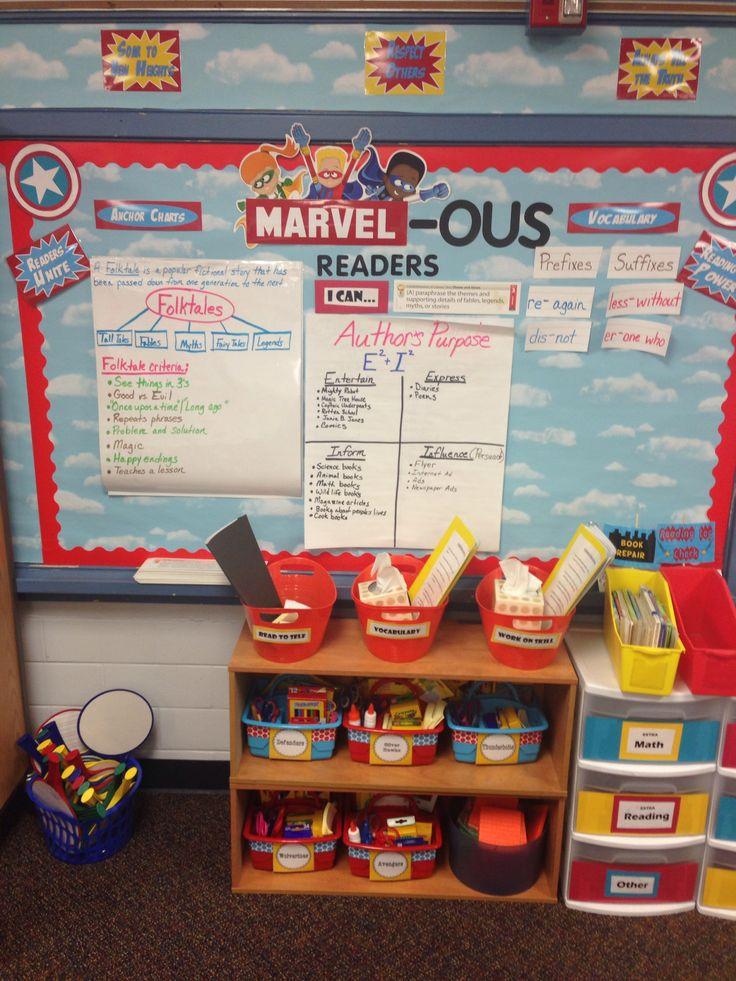 Superhero theme classroom. Reading bulletin board.: play on words MARVELous
