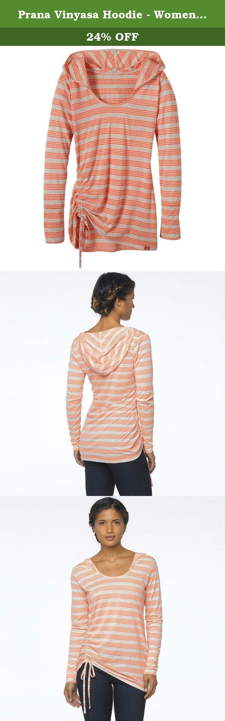 Prana Vinyasa Hoodie - Womens Glowing Coral Medium. FEATURES of the Prana Women's Vinyasa Hoodie Offered in two fabrics: yarn dye stripe jersey knit and polka dot burnout jersey knit Pullover hooded silhouette with cinch detail at front right.
