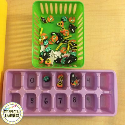Cheap and easy October task box idea - grabbed these adorable erasers from Target dollar spot and an ice cube tray from Dollar Tree! Students then count out the correct amount in each cube spot!