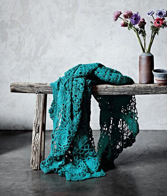 AURA Home teal crochet throw, Etsy