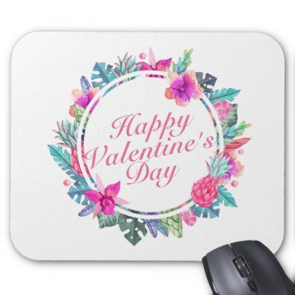 #Tropical Valentine's Day Floral Frame Mousepad - #floral #gifts #flower #flowers