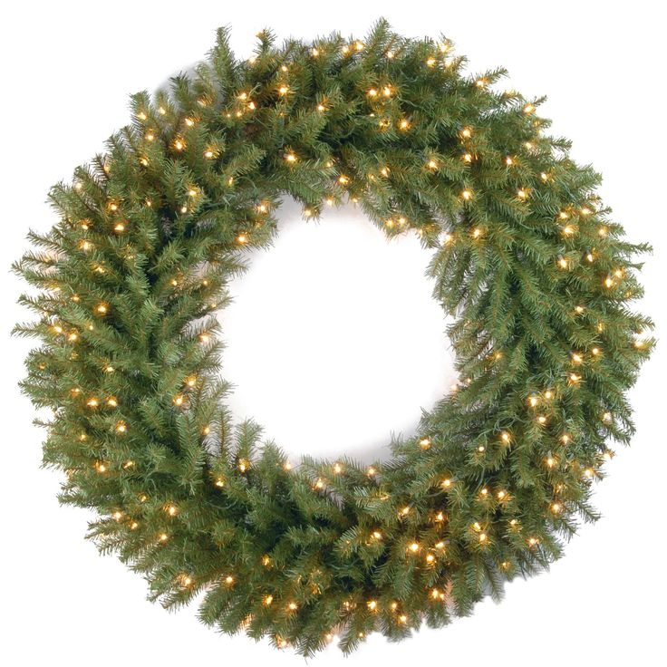 Pre-Lit Wreath with 150 Clear Lights