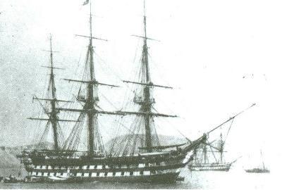 Navio Reina Doña Isabel II. Botado en el Arsenal de la Carraca de Cádiz, dique de San Luis en 1852, entrando en servicio en 1856. Su diseño seguía los planos o proyectos del antiguo navío Soberano. Al ser tan tardío, no fue muy utilizado, pues ya los vapores de ruedas, aunque portaban mucha menos artillería, gracias a su sistema de propulsión eran más maniobrables que los grandes navíos. Su mascarón de proa representaba a la reina Isabel II con una túnica larga y el brazo derecho en alto