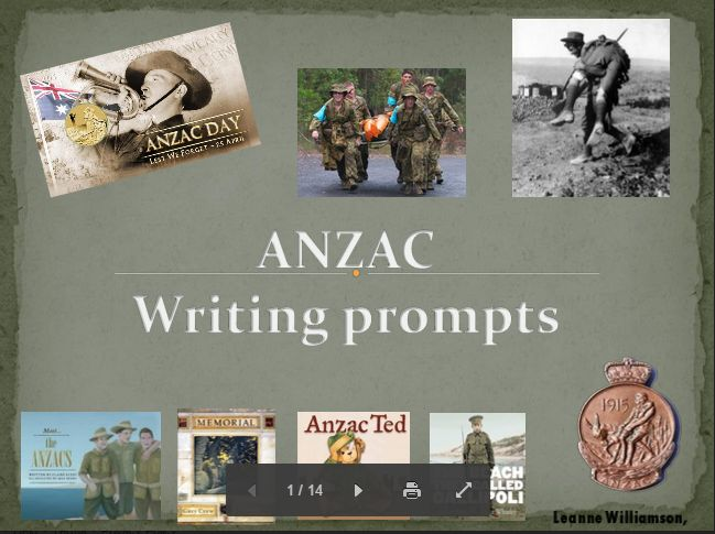 #ANZAC DAY Unit of work & #Writing Prompts PowerPoint by the fabulous Leanne Williamson #ozteachers #aussied