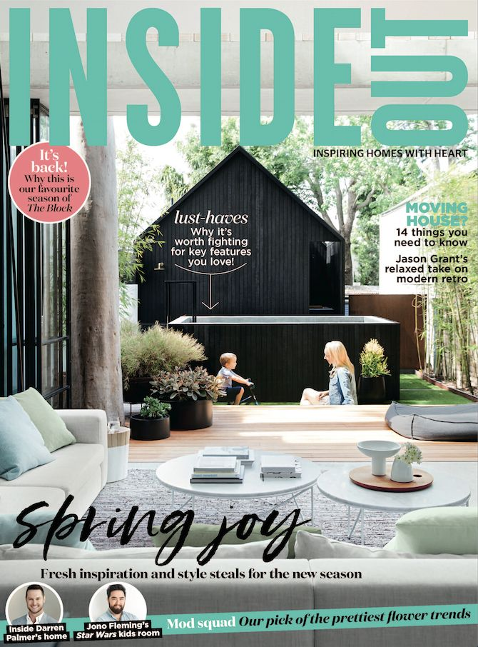 The cover of the September 2017 issue of Inside Out magazine. Photography by Chris Warnes. Styling by Stephanie Powell. Available from newsagents, Zinio, https://au.zinio.com/magazine/Inside-Out-/pr-500646627/cat-cat1680012#/  and Nook.