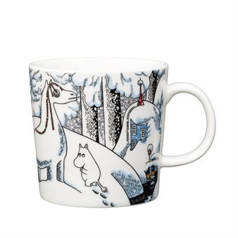 "The 2016 winter mug by Arabia is a beautiful winter design taken from the Moomin tale ""Moominland Midwinter"", featuring some of our favorite Moomin characters. The tale tells of Too-ticky who builds a snowhorse to entertain himself during winter, as he, unlike the other characters, does not hibernate.When Moomintroll sees the snowhorse he runs away in fear, but soon realizes that it is in fact Too-Ticky who has built it. Also featured are the adorable characters Hemulen and Sorry-oo."