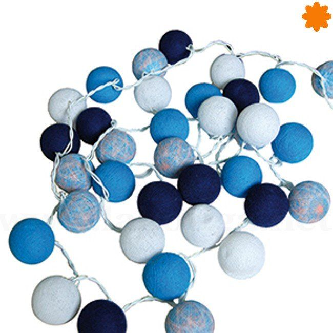 Guirnalda de 35 bolas de algodón luminiscente azul  - Océano