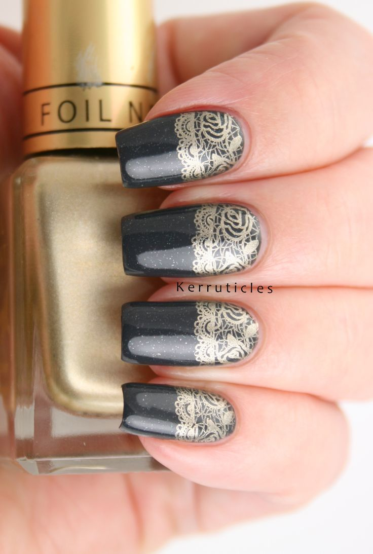 Dark grey nails with gold lace half moon stamping, using Bundle Monster stamping plate BM-XL206 from the Blogger Collaboration set 2.