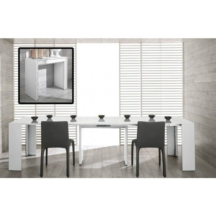 Morph Modern Ultra-Compact Extendable White Dining Table
