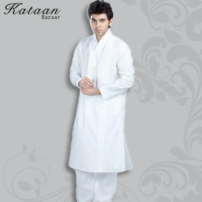 Plain White Cotton Kurta Pyjama