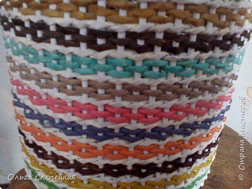 Поделка изделие Плетение Корзинка для клубов Трубочки бумажные фото 4