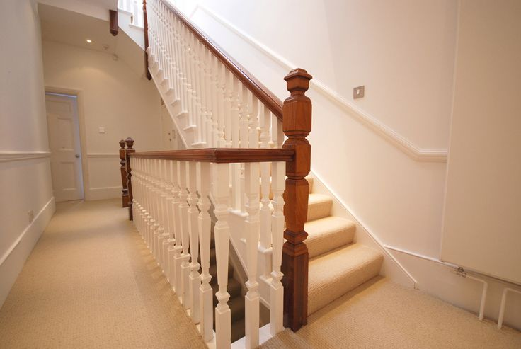 staircase for loft conversion with square cut spindles