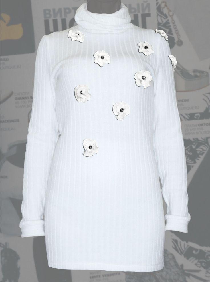 """28$ Вязаная водолазка для полных женщин """"Цветы"""" Артикул 596, р50-64 Белые блузки большие размеры   Блузки нарядные большие размеры  Блузки дизайнерские большие размеры  Блузки с длинным рукавом большие размеры"""