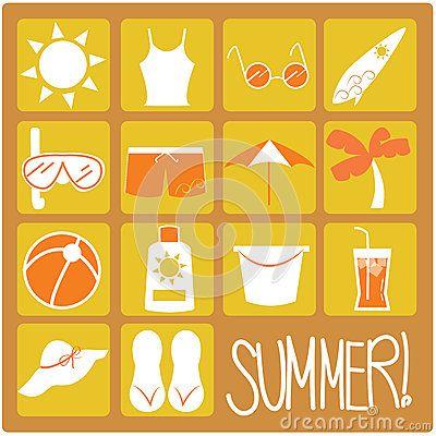 Iconos planos del verano